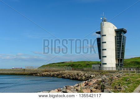 The Marine Operations Centre at Pocra Quay in Aberdeen Scotland. Opened in 2006 it controls shipping in and out of the port one of the UK's busiest ports.