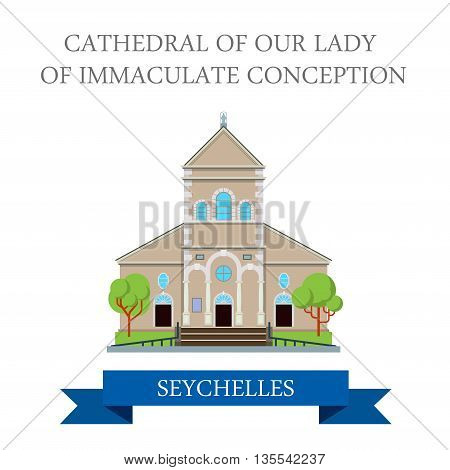 Cathedral of Our Lady of Immaculate Seychelles Flat vector