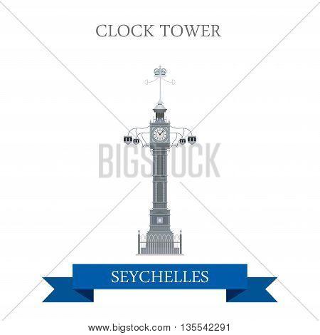 Clock Tower Victoria Seychelles Flat historic web vector