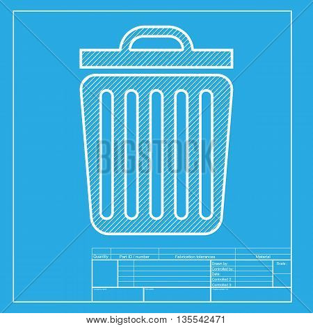 Trash sign illustration. White section of icon on blueprint template.
