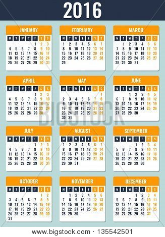 Calendar For 2016. Week Starts Monday. Simple Vector Template
