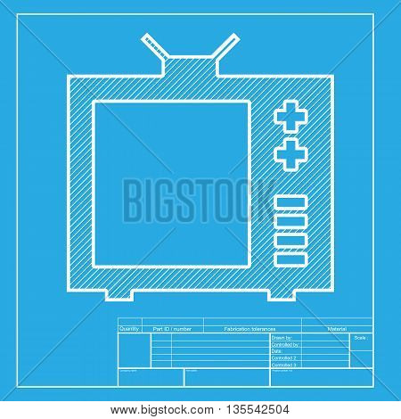 TV sign illustration. White section of icon on blueprint template.