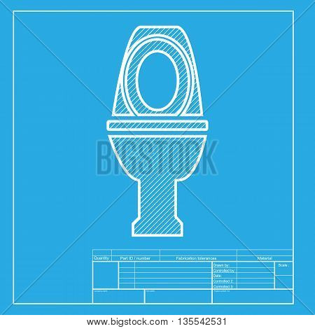 Toilet sign illustration. White section of icon on blueprint template.