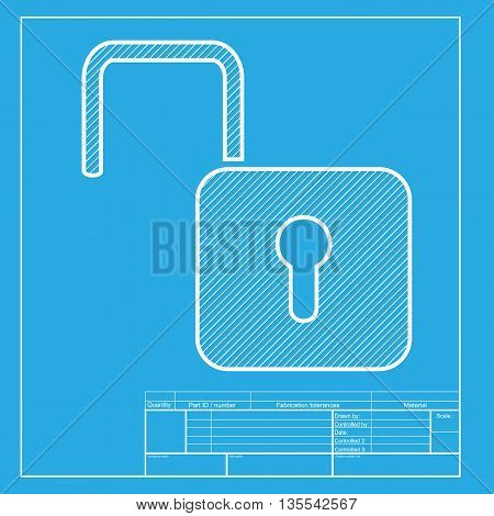 Unlock sign illustration. White section of icon on blueprint template.