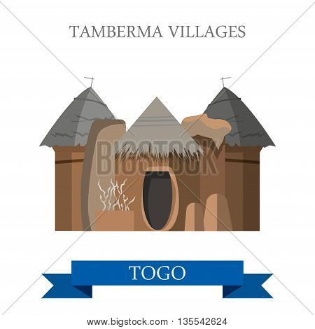 Tamberma Villages in Togo Flat historic web vector illustration