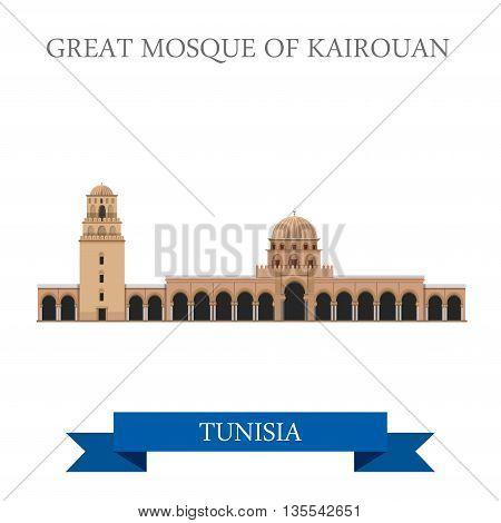 Great Mosque Kairouan Tunisia Flat historic vector illustration