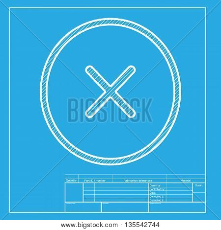 Cross sign illustration. White section of icon on blueprint template.