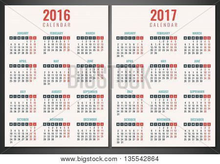 Calendar For 2016 And 2017. Week Starts Monday. Simple Vector Template