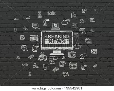 News concept: Painted white Breaking News On Screen icon on Black Brick wall background with  Hand Drawn News Icons