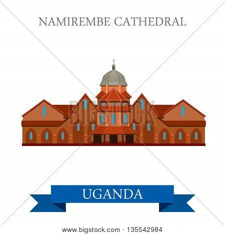 Namirembe Cathedral Uganda Flat historic web vector illustration
