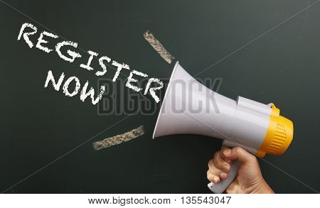 megaphone with text register now