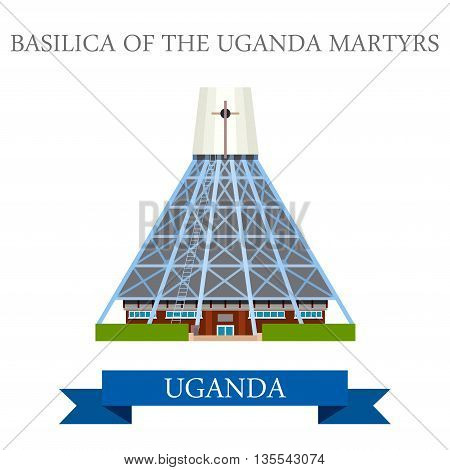 Basilica of the Uganda Martyrs Flat historic sight web vector