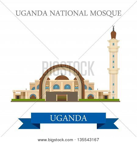 Uganda National Mosque. Flat historic web vector illustration