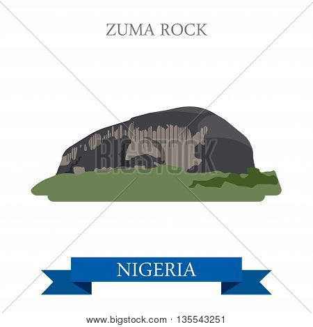 Zuma Rock in Nigeria Flat historic sight web vector illustration
