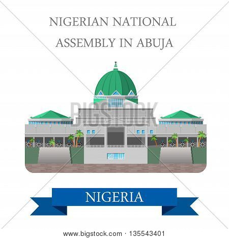 Nigerian National Assembly in Abuja Flat vector illustration