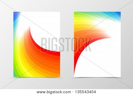 Rainbow flyer template design. Abstract flyer template in rainbow color. Bright flyer design. Vector illustration