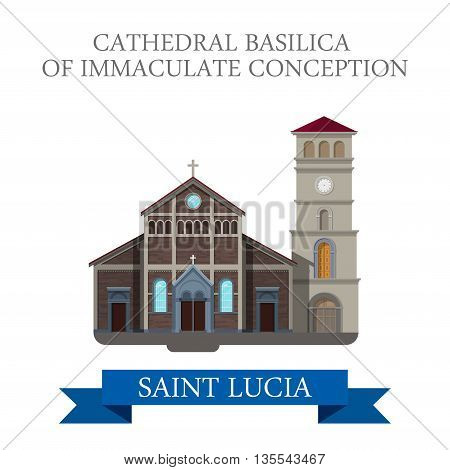 Cathedral Basilica Immaculate Conception Saint Lucia Flat vector