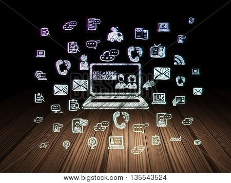 News concept: Glowing Breaking News On Laptop icon in grunge dark room with Wooden Floor, black background with  Hand Drawn News Icons