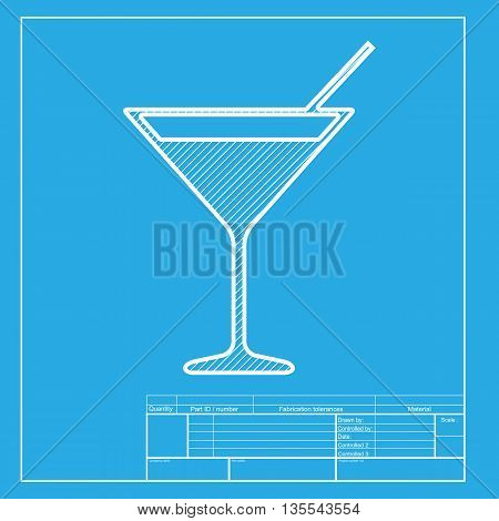 Cocktail sign illustration. White section of icon on blueprint template.