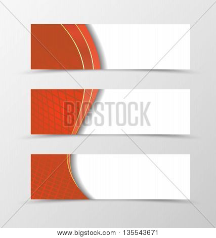 Set of banner grid design. Red banner for header. Design of banner in netting style. Vector illustration