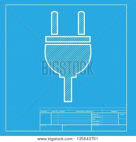 Socket sign illustration. White section of icon on blueprint template.