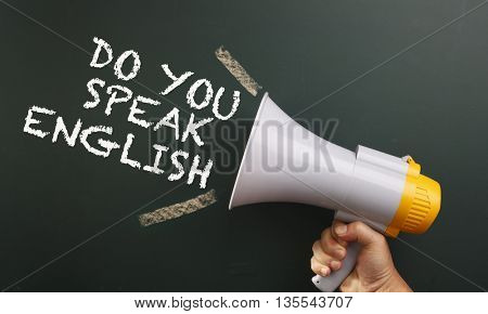 megaphone with text do you speech english