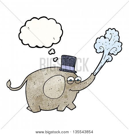 freehand drawn thought bubble textured cartoon elephant squirting water