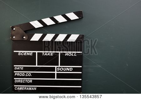 clapper board on the blackboard