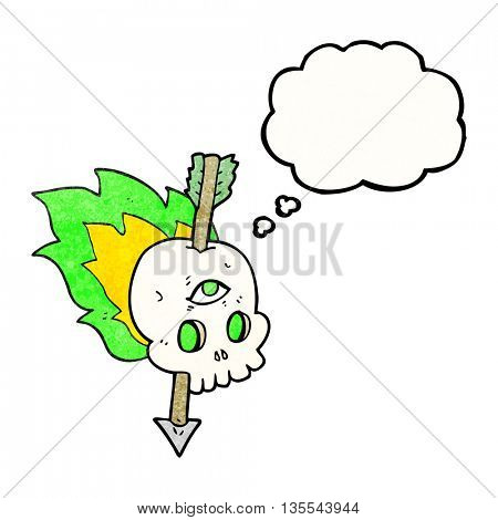 freehand drawn thought bubble textured cartoon magic skull with arrow through brain