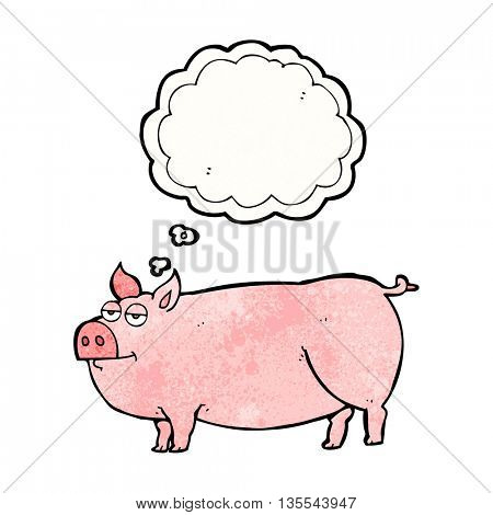 freehand drawn thought bubble textured cartoon huge pig