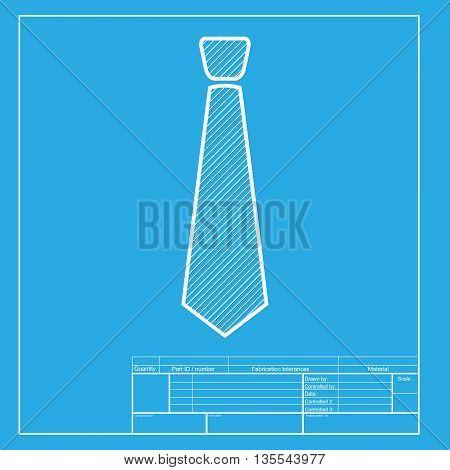 Tie sign illustration. White section of icon on blueprint template.