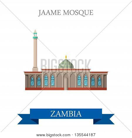 Jame Mosque Zambia. Flat historic sight web vector illustration