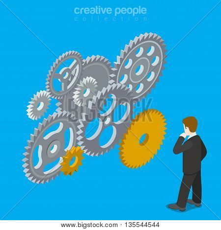 Brain gear vector concept creative design illustration business