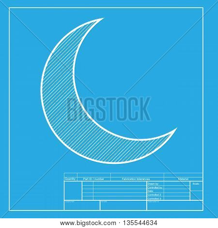 Moon sign illustration. White section of icon on blueprint template.