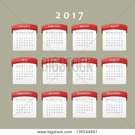 Calendar of year 2017 week starts on Monday