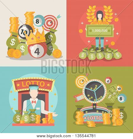 Lucky life concept vector illustration set Fortune People web.