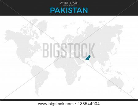 Islamic Republic of Pakistan location modern detailed vector map. All world countries without names. Vector template of beautiful flat grayscale map design with selected country and border location