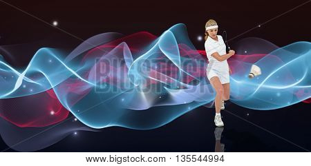 Badminton player playing badminton against blue design