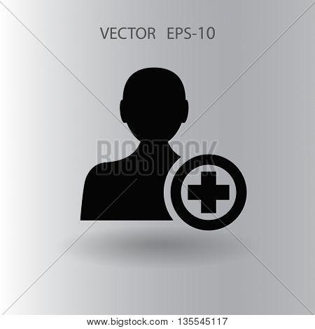 Flat icon of add friend