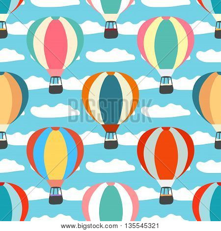 air balloons and clouds seamless pattern vector illustration abstract high quality