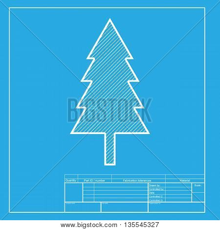 New year tree sign. White section of icon on blueprint template.