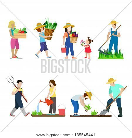 Garden creative vector icon set man woman family illustration