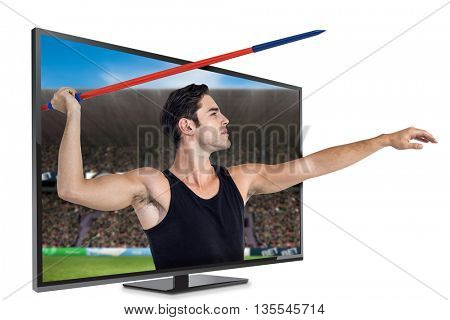 Male athlete preparing to throw javelin against digital image of a stadium