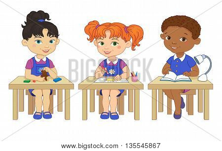 Funny pupils sit on desks read draw clay cartoon asian african isolated illustration
