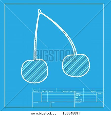 Cherry sign illustration. White section of icon on blueprint template.