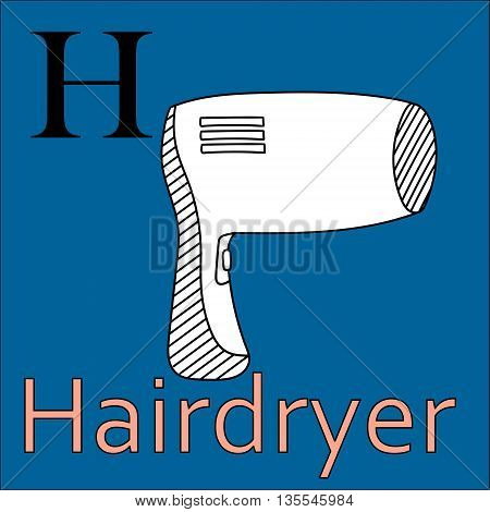 H letter. Object capital alphabet. Colorful font. Uppercase. Vector illustration. Worksheet, Exercises for kids, Coloring book. Illustration of alphabet letters with beautiful clip arts hairdryer