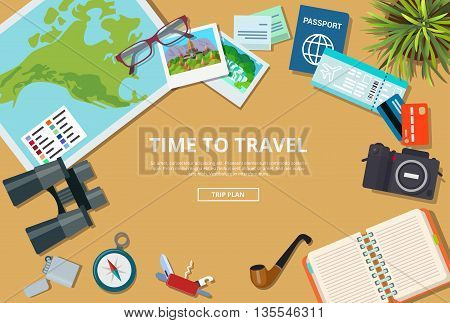 Time to travel agency web brochure vector illustration trip plan