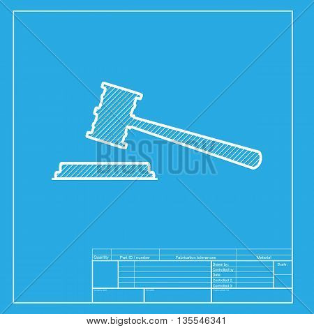 Justice hammer sign. White section of icon on blueprint template.
