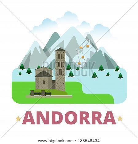 Andorra country badge fridge magnet Flat cartoon sight vector