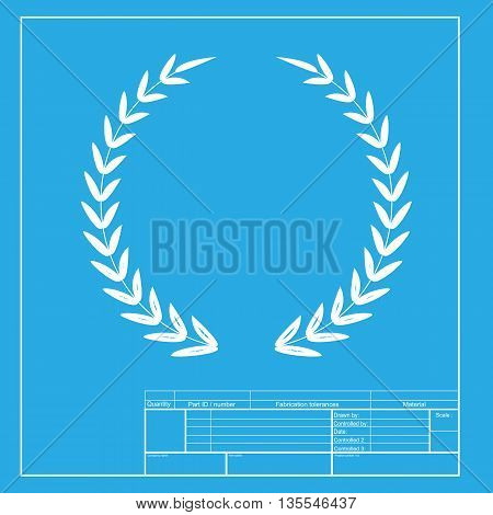 Laurel Wreath sign. White section of icon on blueprint template.
